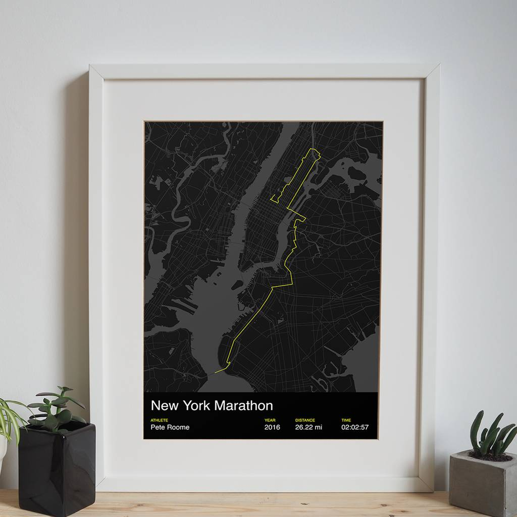 Personalised new york marathon map print by sisu new york marathon personalised print with an athletes name and finishing time negle