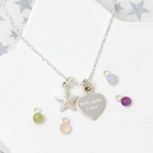 Personalised 'Wish Upon A Star' Birthstone Necklace
