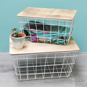 Set Of Two White Metal And Wood Baskets - storage & organisers