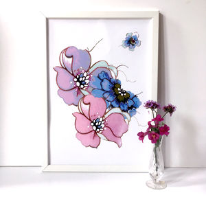 Lilac, Blue, Pink Floral Art Print A3, A2 And A1 - nature & landscape