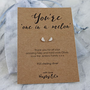 'One In A Melon' Watermelon Sterling Silver Earrings - personalised jewellery