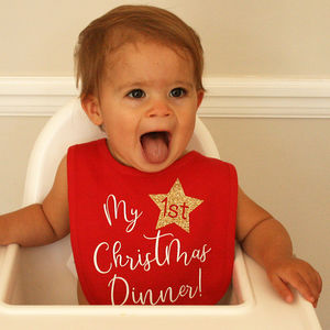 My First Christmas Dinner Bib - baby & child christmas clothing