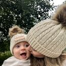 Matching Parent And Baby Knitted Pom Pom Hats