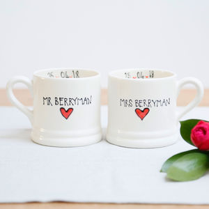 Personalised Wedding Mugs Set - tableware