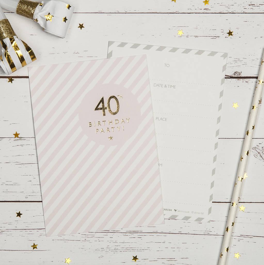40th birthday party invites by aliroo   notonthehighstreet.com