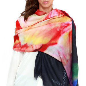 Womens Printed Cashmere Silk Scarf, Royal Tulip