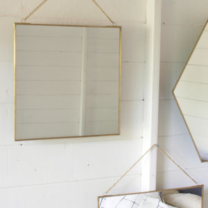 Brass Mirror Assorted Shapes - bedroom