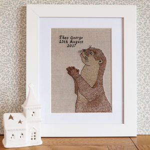 Happy Otter Embroidered Artwork - animals & wildlife