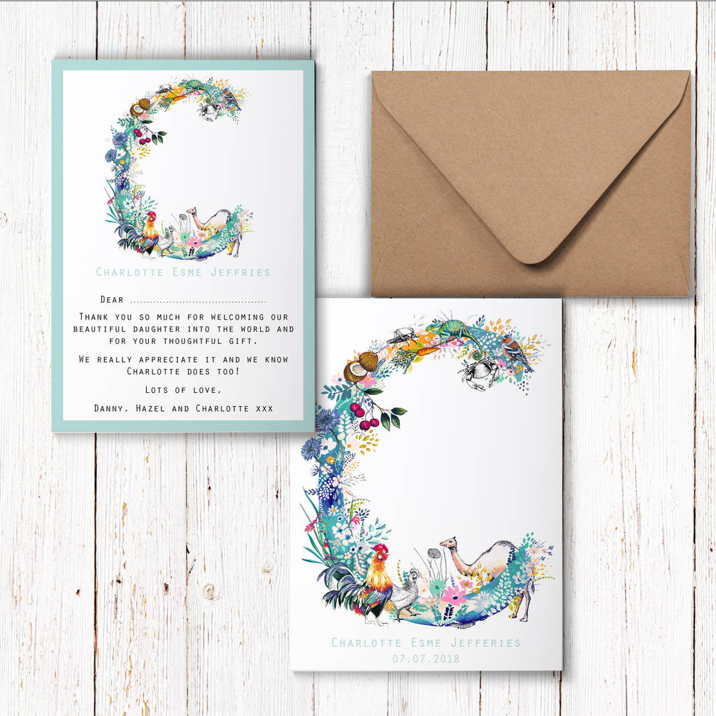 pastel wildlife letter thankyou cards by charlotte duffy design