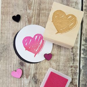 Valentines Brush Heart Rubber Stamp