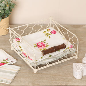 Country Cream Floral Napkins And Holder Set