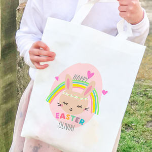 Personalised Easter Hunt Bag 'Rainbow bunny'