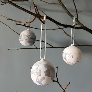 Monochrome Marbled Ceramic Bauble - hanging decorations