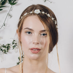 Boho Flower Crown Wedding Headband Loretta - bridal hairpieces