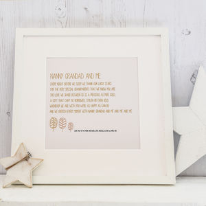 Personalised Grandparents Print With Verse - gifts for grandparents