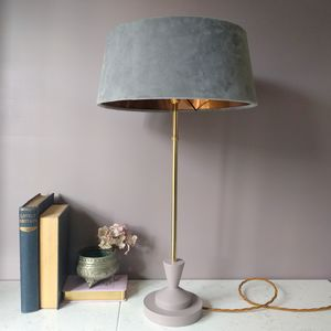 Grey And Copper Velvet Deco Lamp - lighting