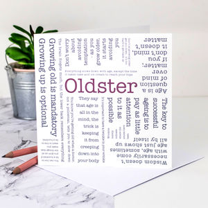 Birthday Card 'Oldster' Quotes