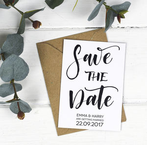 Brush Lettering Save The Date Card Or Magnet