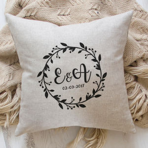 Personalised Wedding Cushion With Initials And Date