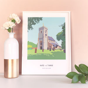 Personalised Church Or Wedding Venue Artwork - drawings & illustrations