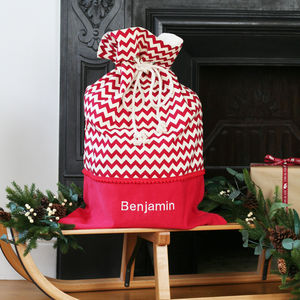 Luxury Personalised Chevron Christmas Santa Sack