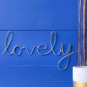 Gold Script Wire ' Lovely' Word - room signs