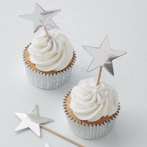 Silver Foiled Star Cupcake Or Mince Pie Toppers - cake decorations & toppers