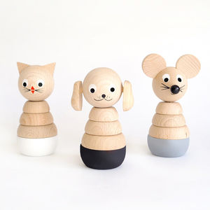 Set Of Three Monochrome Wooden Stacking Toys - toys & games