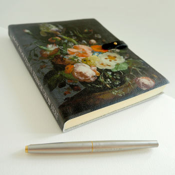Floral Notebook, Leather Bound Recycled Paper
