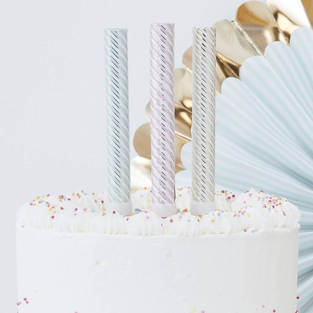 Pastel And Gold Foiled Party Cake Fountains Three Pack By Ginger Ray