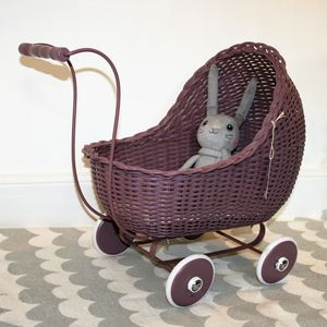 Handmade Scandinavian Wicker Dolls Pram