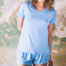 Blue And Cream Bamboo Jersey T Shirt And Short Set