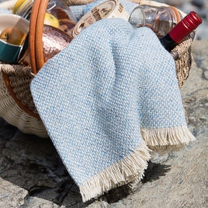 Coastal Blue Recycled British Wool Picnic Blanket - throws, blankets & fabric