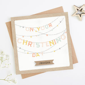 Personalised Pink Christening Day Bunting Card Girl - christening cards