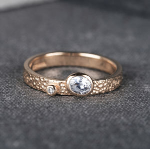 Asymmetrical Oval Diamond Yellow Gold Engagement Ring
