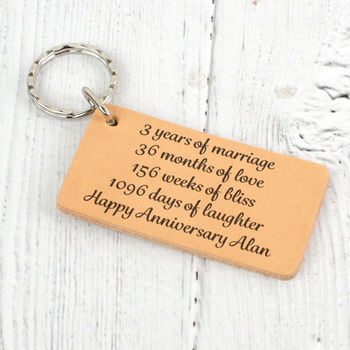 Third Wedding Anniversary Personalised Leather Keyring