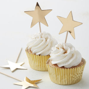 Gold Foiled Star Cupcake Or Mince Pie Toppers