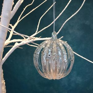 Blue Glitter Christmas Bauble