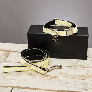 The Hampstead Yellow Dog Collar And Lead Set - pet collars