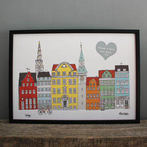 Copenhagen Personalised Engagement Or Anniversary Print - dates & special occasions