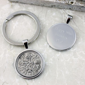 Sixpence 1967 50th Birthday Coin Keyring - for him