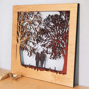 Couple In The Forest Silhouette Wood Picture Art - brand new partners