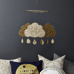 Baby Nursery Mobile Gold Glitter Cloud - mobiles