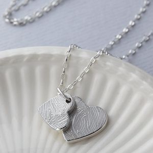 Personalised Ink Fingerprint Double Heart Necklace