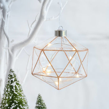 Light Up Glitter Copper Geometric Bauble
