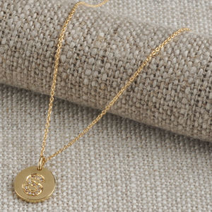 18ct Gold Mini Coin Diamond Initial Necklace - necklaces & pendants