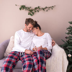 Personalised Embroidered Christmas Couple Pyjamas