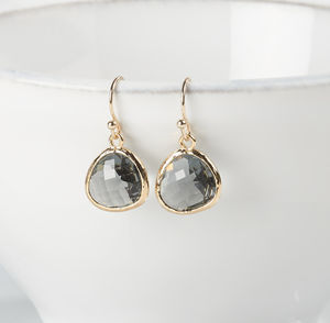 Faceted Glass Raindrop Earrings - jewellery sale