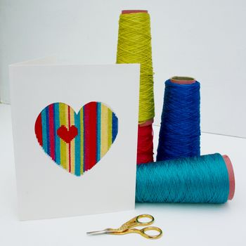 Stitch Your Own Valentine Card, Geometric Heart