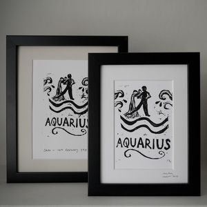 Aquarius Star Sign Personalised Print